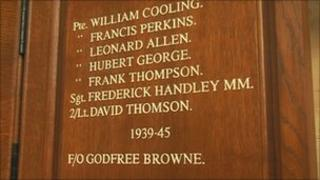 Plaque at Southwell Minster