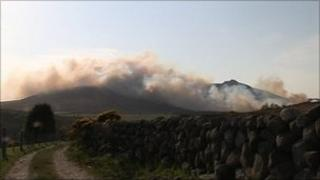 Scene of gorse fires in the Mourne Mountains