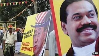 Placards denounce UN chief Ban Ki-moon in Colombo