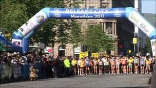 Crowds line up for the start of the Belfast City marathon
