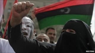 Anti-Gaddafi protesters chant slogans in Egypt's Tahrir Square - 29 April 2011