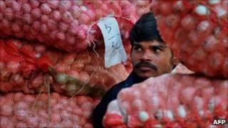Onion seller in India