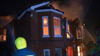 The burning house in Thorold Road