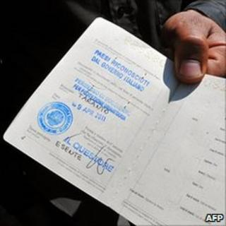 Tunisian holds new Italian residence permit, 21 Apr 11