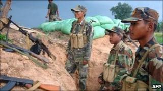 Cambodian troops on guard near the Thai border on 1 May 2011