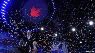 Canadian Conservative Party leader and Prime Minister Stephen Harper waves to supporters following his victory speech at his federal election night headquarters in Calgary, Alberta, on 2 May 2011