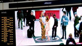 A photo of Lynx's 'Angel Ambush' stunt in London's Victoria Station