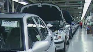 Saab car production line