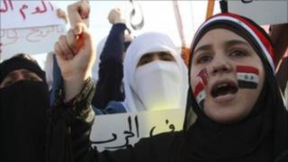Anti-Assad protesters in front of the Syrian embassy in Amman, Jordan, May 1