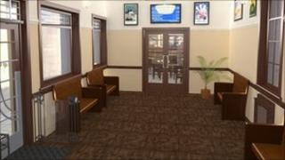 Leamington Spa refurbished railway station waiting room