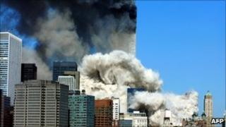Twin Towers in New York burning