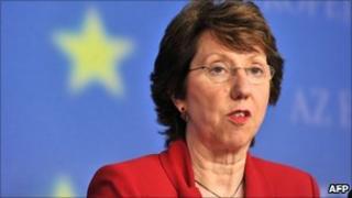Catherine Ashton at EU headquarters (12 April 2011)