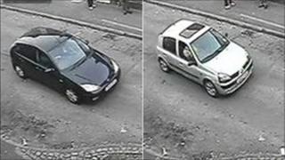 Cars seen near scene of attack