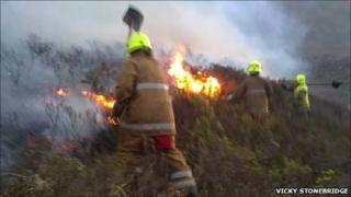 Firefighters beating flames in Torridon. Pic: Vicky Stonebridge