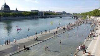 Rhone river in central Lyon