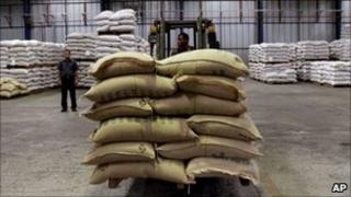 Sacks of coffee at a warehouse in Cuba - April 2011