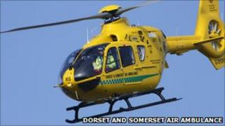 Dorset and Somerset Air Ambulance in flight