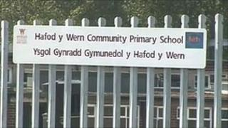 Hafod-y-Wern Community Primary School sign