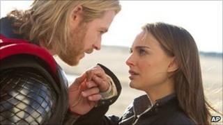 Chris Hemsworth and Natalie Portman in Thor