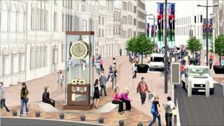 Artist's impression of the Pierhead clock on St Mary Street in Cardiff