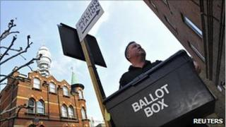 Ballot box being brought to polling station in London