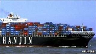 """Hanjin Shipping Co, shows the container ship """"Hanjin Tianjin"""" of South Korea."""