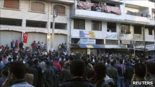 Protesters gather to show solidarity with Deraa, in the Syrian port city of Baniyas 4 May