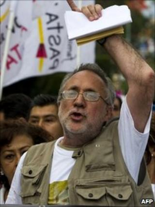 Javier Sicilia during a protest in Cuernavaca in April