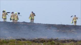 Firefighters working in the Brecon Beacons