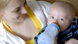 A bottle-fed baby