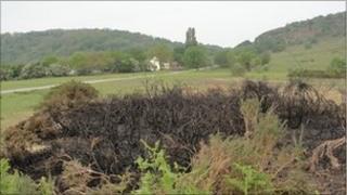 Fire site on the Malvern Hills