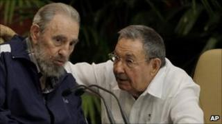 Fidel Castro and his brother, Raul, in discussion at the 2011 Communist Party congress in Havana