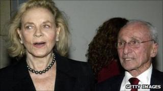 Arthur Laurents with Lauren Bacall in 2003
