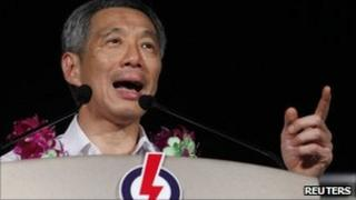 Singapore's Prime Minister Lee Hsien Loong speaks during a People's Action Party (PAP) election rally in Singapore on 5 May 2011