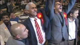 Labour candidates celebrate in Stoke-on-Trent