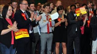 Labour supporters celebrating results in Cardiff