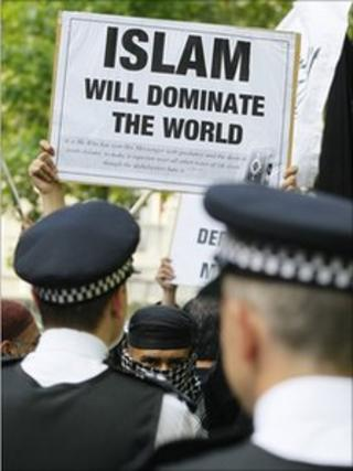 Bin Laden protest outside US embassy in London