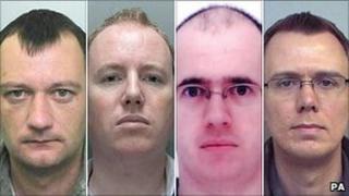 (left - right) Ian Frost, 35, Paul Rowlands, 34, Paul Frost, 37, and Ian Sambridge, 32