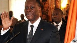 Alassane Ouattara is sworn in as Ivory Coast's president on 6 May 2011 at the presidential palace in Abidjan