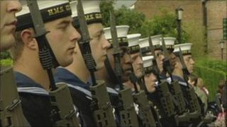 Crew members from HMS Gloucester