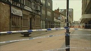 Police cordon in Mansfield