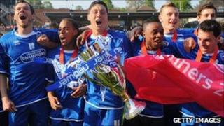 Brighton and Hove Albion players celebration promotion