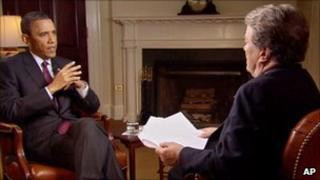 President Obama speaks to CBS's Steve Kroft - still from 60 Minutes programme