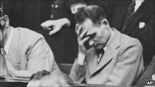 Rudolf Hess pictured at Nuremberg trials
