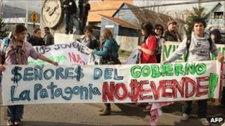 Hundreds of protesters gather in the city of Coihaique in Patagonia