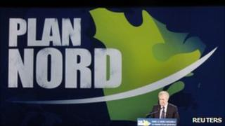 "Quebec""s Premier Jean Charest speaks during the presentation of the Plan Nord"