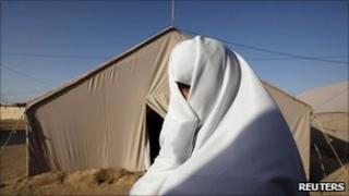 Libyan refugee in camp at Dehiba, Tunisia - 9 May
