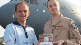 Cricket ball leaves RAF Brize Norton