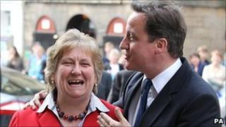 Annabel Goldie with David Cameron on the election campaign trail in Inverness in April