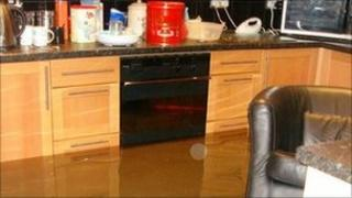 A flooded home in Leamington Spa
